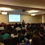 JT Tran gives his keynote presentation to the students of Northeastern University